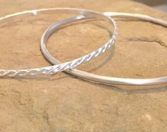 Sterling silver bangle bracelets, patterned bangle bracelet, stackable sterling silver bracelets, stackable bangle bracelets, gift for her