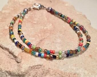 Multicolored seed bead bracelet, double strand bracelet, stackable bracelet, yoga bracelet, minimalist bracelet, beaded bracelet,