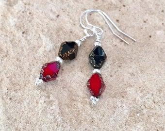 Black and red drop/dangle earrings, Czech glass beads, Hill Tribe silver earrings, dangle earrings, sterling silver drop earrings