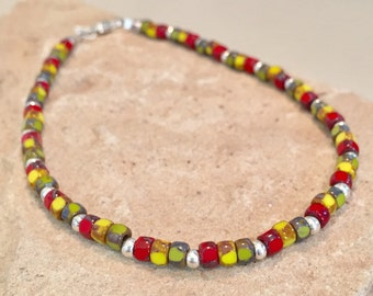 Multicolored seed bead anklet, Matubo three-cut beads, Hill Tribe silver anklet, sterling silver anklet, boho anklet, gift for her