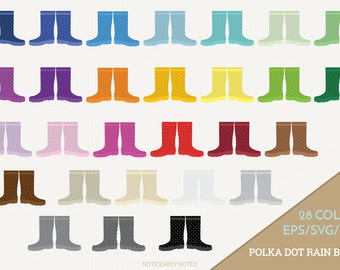 Rain Boots Vector, Polka Dot Galoshes Clipart, Rainboots Clip art, Rain Boot SVG, Galosh PNG  (Design 13701)
