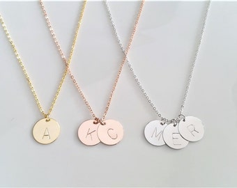 Monogram Necklace, Dainty Initial Necklace, Rose Gold Necklace, Initial Charm Necklace, Gold Necklace, Coin Necklace, Bridesmaid Gift,Silver