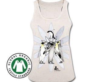 Women's Organic Tank Top. Organic Cotton Top. Handmade Clothing. Women's Clothes. Organic Top with handmade print. Art Top. Penguins Print.
