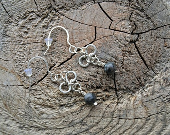 Larvikite//925 Sterling Silver Infinity Earrings