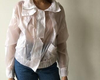 Vintage white 90s semi see through vest coat jacket rave club kid zippered hooded nineties asian harajuku lolita beijing women feminine s/m