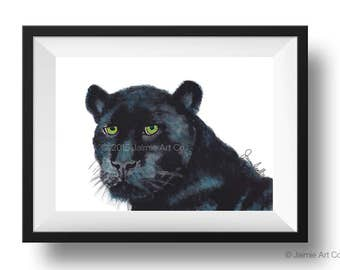 Panther Art Print, Animal Wall Art, Watercolor Illustration, Childrens Art, Nursery Wall Art, Kids Wall Art, Wall Decor, Frameable Art