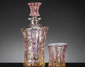 Set crystal Patriot whisky Bottle and six tumblers Chiarte