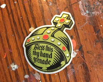 Holy Hand Grenade METALLIC vinyl sticker