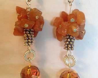 Red Aventurine and Swarovski Earrings