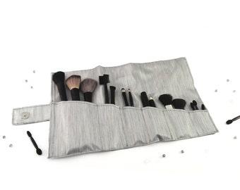 Makeup brush holder Makeup brush organizer Makeup storage Gift for her Silver makeup brush roll Makeup organizer Cosmetic brush holder roll