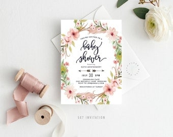 Printable Baby Shower Invitation || Simple, Florals, Boho, Baby Girl, Digital File