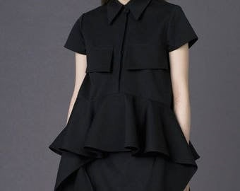 Short sleeved shirt / Peplum detail shirt / Black asymmetric shirt / Black designer shirt