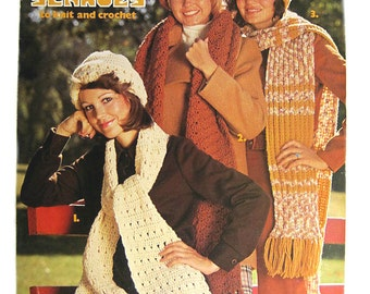 crochet knitting patterns, Hats and Scarves to Knit & Crochet, vintage LA leaflet, 1970's scarf knitting patterns