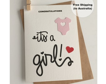 It's a Girl Card  – Congratulations Baby Girl Card – Baby Girl Card – Onesie Girl Card – New Baby Girl Card