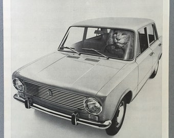 1967 Fiat 124 Print Ad - King-of-the-Road - Lion