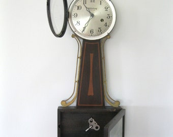 Vintage Ingraham Company Banjo Wall Clock - 8 Day - Wind Up Clock - Eagle Finial - Made In Bristol Connecticut - Antique Wall Clock