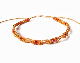 Summer Anklet -Orange Ankle Jewelry, Anklets For Women, Graduation Gift, Gifts For Women Friend, Knot Jewelry, Knot Bracelet, Summer Jewelry