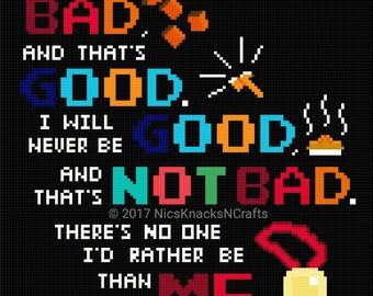 Bad Guy Affirmation Cross Stitch Pattern