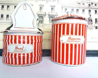 Set of 2 Vintage Enamel Containers / Signed BB Frères / Salt Wall Container / Sugar Container /French Old Antique enamelware/ red and white