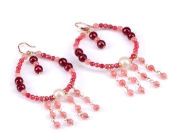 Pink chandelier Hoop Earrings