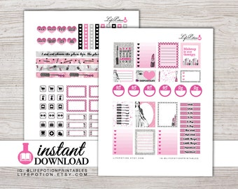 Printable Planner Stickers - Erin Condren Weekly Stickers - Instant Download - Silhouette - Design: Glam Girl