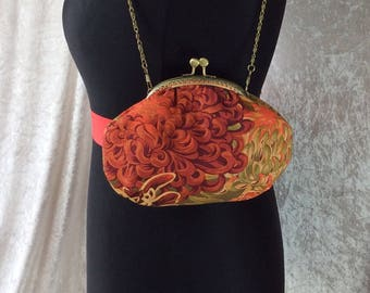 Chrysanthemum Alice frame handbag purse Kaffe Fassett fabric bag clutch makeup handmade in England