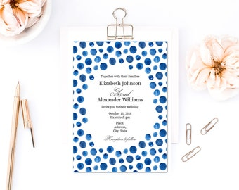 Navy wedding invitation template Blue polka dots watercolor Modern wedding Nautical invitation printable Beach wedding download 1W149