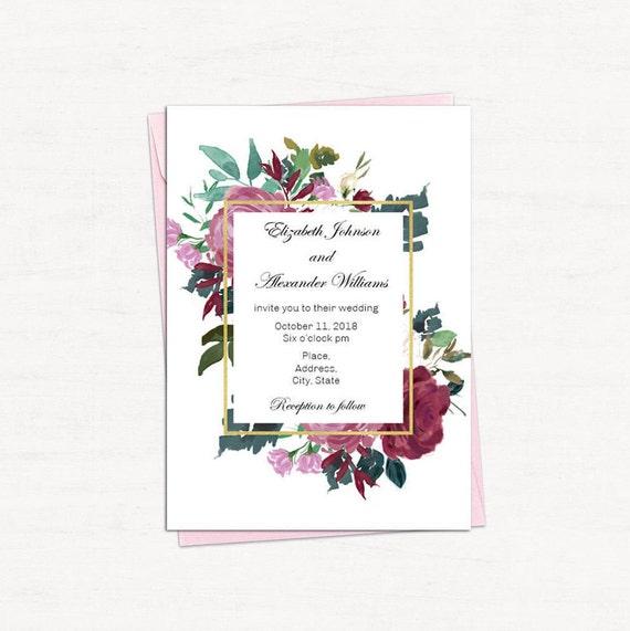 Wedding Invitations Diy Templates: Floral Wedding Invitation Template Burgundy Wedding Invites