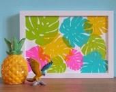 Monstera Leaf Screenprint, Colourful Print, Plant Print, Botanical Plants, Tropical Decor, Crazy Plant Lady, Plant Lovers Gift Indoor Plants