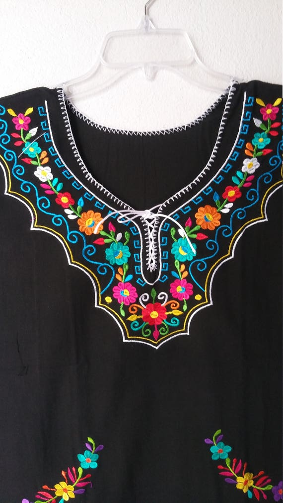 Embroidery mexican black large blouse boho top