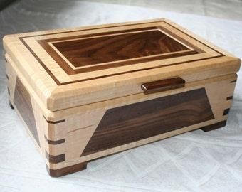 Wood Jewelry Box, Wooden Jewelry Box, Keepsake box, Jewelry Storage box,2SDM