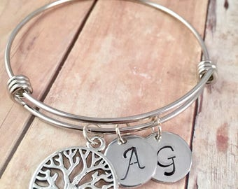 Family Tree Bracelet, Initial Bracelet, Mothers Day Gift, Mother's bracelet, For Grandma, NANA, Sister, New Mom, personalized Jewelry