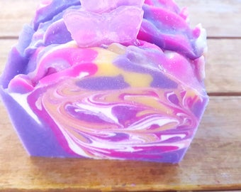 Butterfly Flower Handmade Soap - Purple Handmade Soap - Homemade Soap - Cold Process Soap, Shea Butter Soap - Decorative Soap - Mother's Day