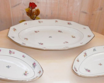 Vintage Shabby Cottage big serving dish and 2 dishes- Grand plat de service et 2 raviers Vintage