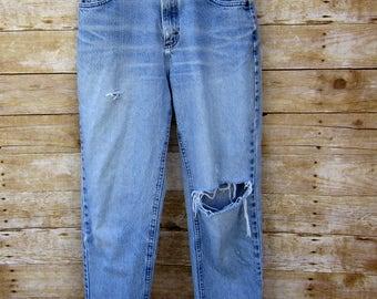 Vintage Size 26 Lee Frayed Hem Jeans Trashed Denim - Concert Festival BOHO
