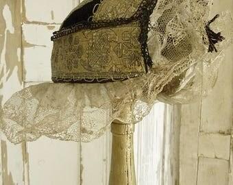 Rare antique gold gilt metallic embroidered silk folk bonnet cap...CHARMANT!