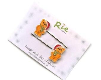 Christmas Teddy Hairgrips SALE  Sparkly Bear Hair Grips Pins
