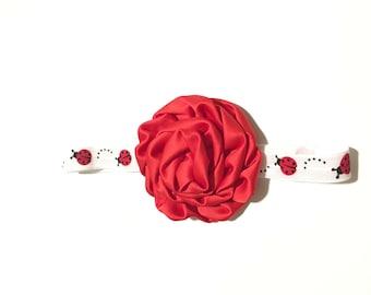 Ladybug Headband, Satin Flower, Hair Accessory, Girls Headband, Lady bug