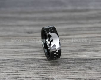 Black Tungsten Wedding Band Black Tungsten Wedding Ring with Flat Edge and Polar Bear with Tracks Laser Engraved FREE SHIPPING FREE Engravng
