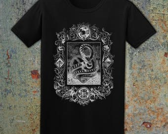 THE SERPENT - Men's Snake T-Shirt, White on Black, 100% Cotton, Made in USA