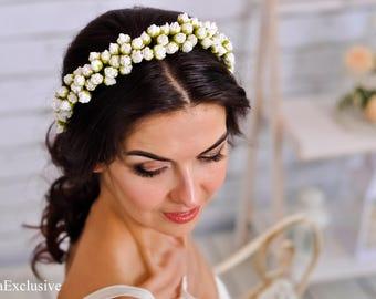 Rustic wedding Bridal flower crown Wedding flower headband Bridal hair accessories Wedding hair piece Flower hair wreath Floral headband