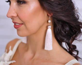 Best friend birthday gift ideas Silk tassel earrings Wedding ivory earrings Mom Gift for her Gift|for|wife Womens gift Bridal earrings