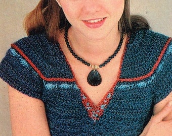 Vintage Crochet Pattern - Crochet pullover with v-neck - 80's - Instant download PDF - retro sweater