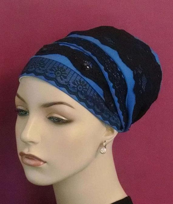 Updated royal blue and lace sinar tichel, tichel, apron tichel, head scarf, head wrap, chemo scarf, hair snood