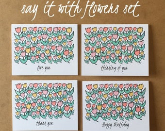 Greeting Card Set - Note Card Set - Flowers - Tulip Cards - Stationary Set - Pretty - Assorted Cards - Tulips - Floral Cards - Variety