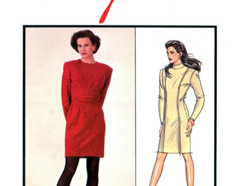 80s Style 1404 Long Sleeved, Knee Length Dress with Round or High Neckline, Uncut, Factory Folded, Sewing Pattern Size 6-10
