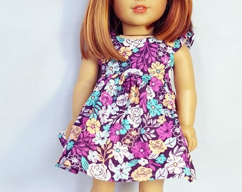 18 inch doll clothes Purple Peony Dress