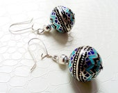 Earrings 'Edda' - Sterling 925 silver with blue enamel - Boho chic, elegant earrings, precious gift, gift for her - Handmade jewelry