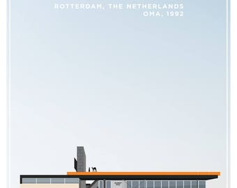 Kunsthal Rotterdam Rem Koolhaas OMA Architectural Illustration Fine Art Poster Print
