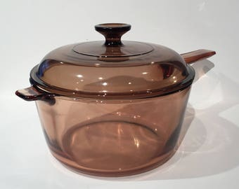 Pyrex Visions 2.5L Amber Glass Saucepan with Lid, Vintage Corning Glass Saucepan, Visions Amber Glass 2.5 L Sauce Pan With Lid Made in USA